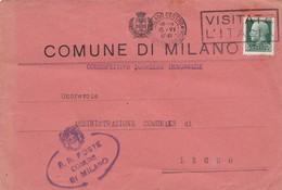 BUSTA  VIAGGIATA - MILANO - COMUNE DI MILANO- CORRISPETTIVO SGOMBERO IMMONDIZIE - VIAGGIATA PER LECCO - 1900-44 Vittorio Emanuele III