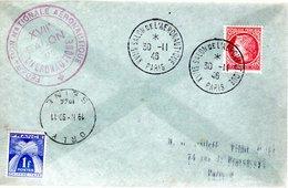 """LETTRE TAXEE 1946  - CACHET POSTAL COMMEMORATIF MUET """"SALON AERONAUTIQUE DE PARIS"""" - Taxes"""