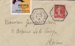 LETTRE SEMEUSE  / + Vignette Grande Semaine Aviation De La Champagne Ob. Hexagone BETHENY AVIATION MARNE 1909 - Marcofilie (Brieven)