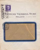 BUSTA  VIAGGIATA - MILANO - UFFICIO VENDITA TUBI - VIAGGIATA PER MERATE( LECCO) - 1900-44 Vittorio Emanuele III