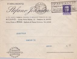 BUSTA  VIAGGIATA - MILANO - STABILIMENTO, STEFANO JOHNSON - FABBRICA ITALIANA DI MEDAGLIE FONDATA - VIAGGIATA PER  LECCO - 1900-44 Vittorio Emanuele III
