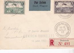 1933 , LETTRE RECOMMANDE LUXEMBOURG, DIEKIRCH EXPOSITION Pour FRANCE - Aéreos