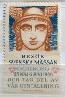 SVENSKA MÄSSAN GÖTEBORG  MAGGIO GIUGNO  1946 - Erinnofilia