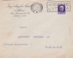 BUSTA  VIAGGIATA - MILANO - ING. ANGELO FIORETTI - VIAGGIATA PER  LECCO - 1900-44 Vittorio Emanuele III