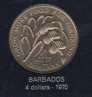 FAO 4 Dollar 1970 Barbados RARE COIN - Barbados