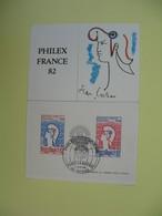 Carte Maximum 1982 N° 2216 Et 2217  Feuillet  - Philex France 82 Cachet Puteaux - Cartes-Maximum