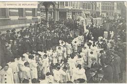 Rare - Carnaval De Morlanwelz 1914 Cortège Du Feureu Les Pierrots Et Les Gilles Devant L'Hôtel De Ville - Morlanwelz
