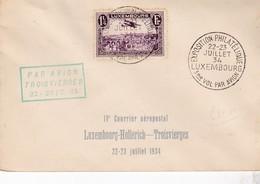 LUXEMBOURG  / PAR AVION / 3 EME VOL HOLLERICH / TROISVIERGES 1934 - Luchtpost