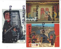3 CPM - LYON (69) GUIGNOL (marionnette) Véritable Théâtre (café Du Soleil)... - Autres