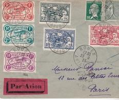 MEETING AVIATION DE ROUEN DU 23.9.1923 SUR LETTRE MARCOPHILE PAR AVION AVEC SERIE COMPLETE DES 6 VIGNETTES - Postmark Collection (Covers)