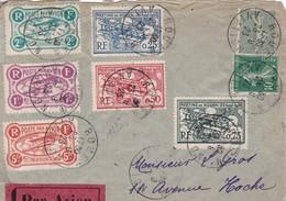 MEETING AVIATION DE ROUEN DU 23.9.1923 SUR LETTRE MARCOPHILE PAR AVION AVEC SERIE COMPLETE DES 6 VIGNETTES - Poststempel (Briefe)
