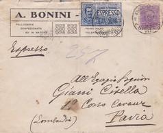 BUSTA VIAGGIATA  ESPRESSO - MILANO - A. BONINI - PELLICCERIA - VIAGGIATA PER PAVIA - 1900-44 Vittorio Emanuele III