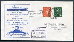 1960 GB Harwich PAQUEBOT Ship Cover. M.V. KONINGIN WILHELMINA Maiden Voyage, Zeeland Steamship Co. Royal Netherlands - 1952-.... (Elizabeth II)
