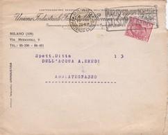BUSTA VIAGGIATA -MILANO-UNIONE INDUSTRIALE FASCISTA  DELLE PROVINCIE DI MILANO E VARESE -VIAGGIATA PER ABBIATEGNASSO(MI) - 1900-44 Vittorio Emanuele III