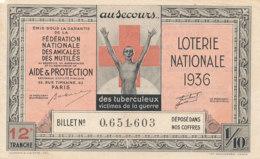BL 67 / BILLET  LOTERIE NATIONALE    FEDERATION DES AMICALES DES MUTILES  1936 - Billets De Loterie