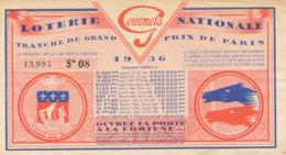 BL 72  / BILLET  LOTERIE NATIONALE   TRANCHE  DU GRAND PRIX DE PARIS   1936 - Billets De Loterie