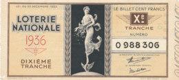 BL 73  / BILLET  LOTERIE NATIONALE   DIXIEME TRANCHE    1933 - Billets De Loterie