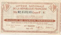 BL 74  / BILLET  LOTERIE NATIONALE   BANQUE DE L'UNION PARISIENNE 6 EME TRANCHE - Billets De Loterie