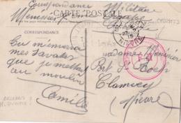 """Cachet Rouge  """" Dépot Du 7ème Groupe Cyclistes F.M. """" Sur Carte Postale D'Olivet De 1915 - WW I"""