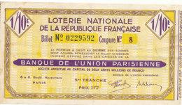 BL 75  / BILLET  LOTERIE NATIONALE   BANQUE DE L'UNION PARISIENNE 5 EME TRANCHE - Billets De Loterie