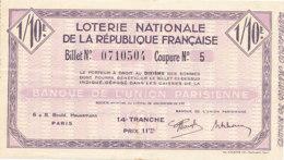BL 76  / BILLET  LOTERIE NATIONALE   BANQUE DE L'UNION PARISIENNE 14 EME TRANCHE - Billets De Loterie