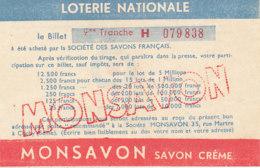 BL 77  / BILLET  LOTERIE NATIONALE   MONSAVON  9 EME TRANCHE - Billets De Loterie