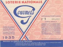 BL 78  / BILLET  LOTERIE NATIONALE   GOURMETS  1935 - Billets De Loterie