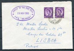 1960 GB PAQUEBOT Ship (Royal Mail Lines) Cover - Lt Col Martin Leslie, Lisbon Portugal. R.M.S. ARLANZA Maiden Voyage - 1952-.... (Elizabeth II)