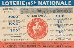 BL 79  / BILLET  LOTERIE NATIONALE  BISCUITERIE  MARCEL'S - Billets De Loterie