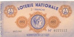 BL 82 / BILLET  LOTERIE NATIONALE    3 EME TRANCHE  1937 - Billets De Loterie