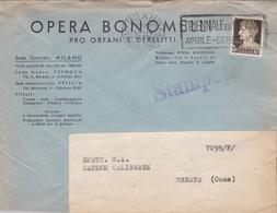 BUSTA VIAGGIATA - MILANO - OPERA BONOMELLI - PRO ORFANI E DERELITTI -VIAGGIATA PER MERATE ( LECCO) - 1900-44 Vittorio Emanuele III