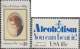 Etats-Unis 1498,1499 (complète.Edition.) Neuf Avec Gomme Originale 1981 Edna St.vincent Millay, Alcool - Etats-Unis