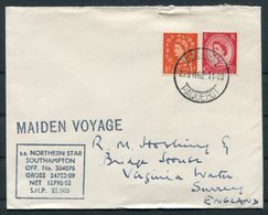 1962 GB / South Africa, Maiden Voyage NORTHERN STAR, Cape Town Paquebot Ship Cover - 1952-.... (Elizabeth II)