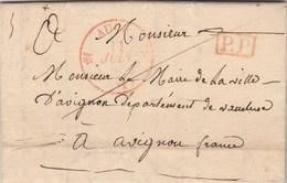 Lettre Du Maire De DURAN Cachet Rouge AUCH Gers 11/6/1834 Cachet PP Port Payé Pour Maire D' Avignon Vaucluse - Storia Postale