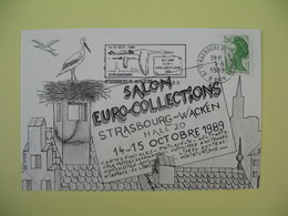 Carte  1989 Salon Euro Collections Strasbourg - Wacken  Cachet Bas Rhin - Expositions