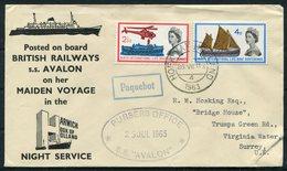1963 GB / Netherlands 2 X Maiden Voyage British Railways S.S. AVALON Paquebot Ship Covers. Harwich / Hook Of Holland - 1952-.... (Elizabeth II)