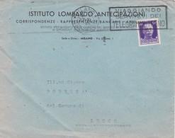 BUSTA VIAGGIATA - MILANO - ISTITUTO LOMBARDO ANTECIPAZIONI - RAPPRESENTANZE BANCARIE -VIAGGIATA PER LECCO - 1900-44 Vittorio Emanuele III