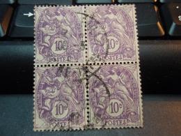 4 Timbres Type Blanc 10 Centimes Violet Oblitérés - 1900-29 Blanc