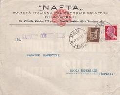 BUSTA VIAGGIATA - BARI - NAFTA , SOCIETA' ITALIANA PEL PEROLIO ED AFFINI- VIAGGIATA PER ROCCA IMPERIALE ( COSENZA) - 1900-44 Vittorio Emanuele III