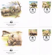 Swaziland 1987 Tiere/Nashorn Mi.Nr. 528/31 Kpl. Satz Gestempelt Auf FDC - Swaziland (1968-...)