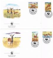 Zambia 1987 Tiere Mi.Nr. 438/41 Kpl. Satz Gest. Auf FDC - Zambia (1965-...)
