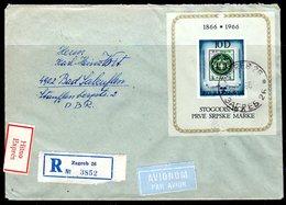 YUGOSLAVIA 1966 Serbian Stamp Centenary Block Used On Cover.  Michel Block 11 - Blocks & Sheetlets