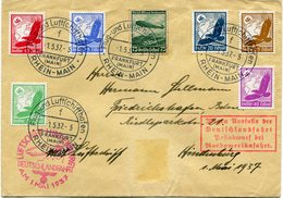 "ALLEMAGNE LETTRE AVEC CACHET ROUGE ""LUFTSCHIFF HINDENBURG....AM 1 MAI 1937"" DEPART FRANKFURT 1-5-37 POUR L'ALLEMAGNE - Allemagne"