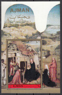 """Ajman 1972 Bf. 420A """"Adorazione Dei Magi"""" Trittico Dipinto Da J. Bosch Preobliterato Paintings Tableaux - Madonne"""