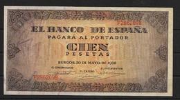 100 PTAS. DEL 20 DE MAYO DE 1938. SERIE F - 100 Pesetas