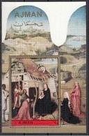"""Ajman 1972 Bf. 420A """"Adorazione Dei Magi"""" Trittico Dipinto Da J. Bosch Preobliterato Paintings Tableaux - Religione"""