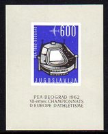 YUGOSLAVIA 1962 European Athletics Block MNH / **.   Michel Block 9 - Blocks & Sheetlets