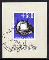 YUGOSLAVIA 1962 European Athletics Block Used.   Michel Block 9 - Blocks & Sheetlets