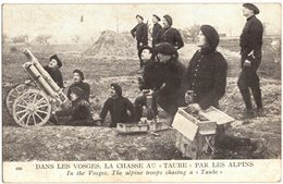 MILITARIA GUERRE 14/18 CHASSEURS ALPINS VOSGES LA CHASSE AU TAUBE - CANON - ALPINE TROOPS - Circulé SIGEAN - Weltkrieg 1914-18