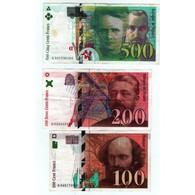 LOT De Billets Français Dernière Gamme 500 F., 200 F., 100 Francs - 1992-2000 Dernière Gamme